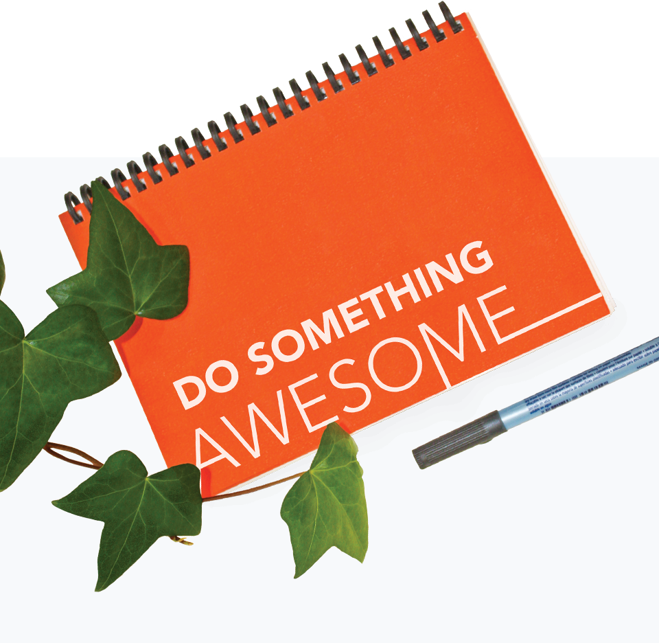 Notebook with 'Do something awesome' on cover