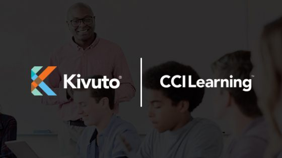 Featured Image - Kivuto and CCI Learning logos with background of classroom teacher and students on laptops and tablets