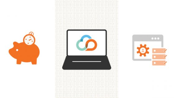 Three Icons - Piggy Bank with Stop Watch, Laptop With Kivuto Cloud Logo, and Platform with User Settings