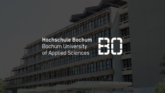 Featured Image - Hochschule Bochum logo with background photo of school campus
