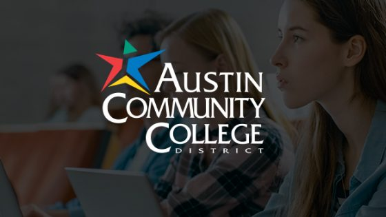 Featured Image - Austin Community College logo with background students in classroom lecture hall