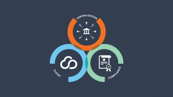 Featured Image - Icons from left to right are: cloud with cloud written, school with centralization written, and certificate with compliance written