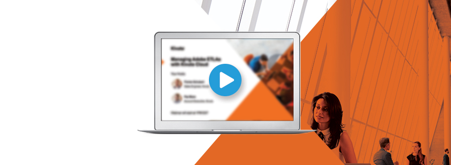 Featured Image - laptop screen showing the main image for the webinar, play button icon on top. Image of business people in the background.