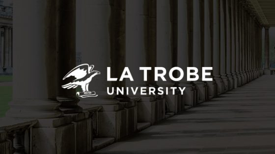 Featured Image - La Trobe University logo with background image of the school campus