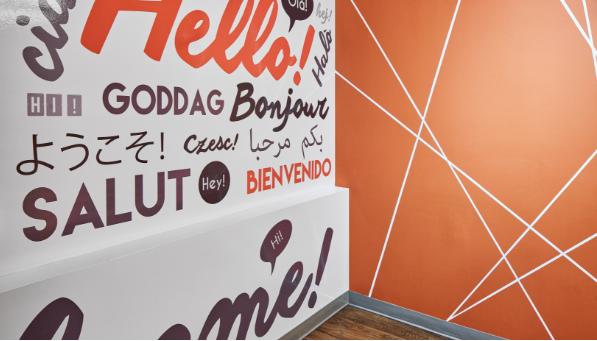 Wall decal with hello written in several different languages
