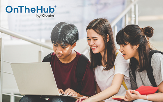 OnTheHub logo and three students on campus looking at one laptop