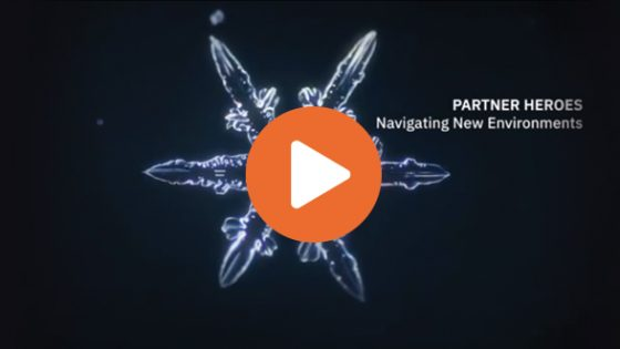 "Video thumbnail - Snowflake graphic with text ""Partner Heroes Navigating New Environments""."