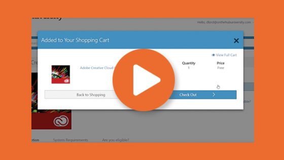Featured Image - Adding Adobe Creative Cloud Product to Kivuto Shopping Cart with play button icon on top